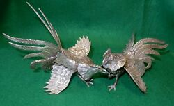 Vintage Pair Silver Colored Bronze Metal Ornate Detailed Fighting Cocks Roosters