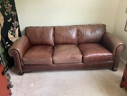 Classic Vintage Distressed Brown Leather Sofa With Studs Lauren