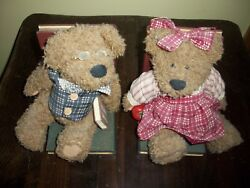 Antique Collectible Teddy Bears And Wood Bookends Boy/girl Handcrafted Figurines