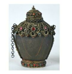 Antique Chinese Tibetan Filigree Snuff Perfume Bottle With Stones Signed