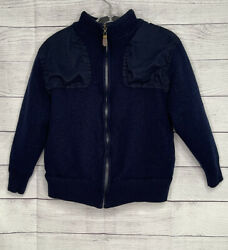Orvis Menand039s Wool Chest Patch Full Zip Hunting Sweater Jacket Size Medium Blue