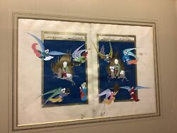 Antique Persian Hand Painted Book Pages Well Framed