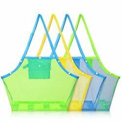 Weewooday 4 Pieces Mesh Beach Bags Beach Toy Storage Bag Large Mesh Beach Tot... $29.10