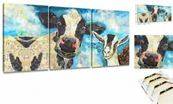 Modern Blue Cow Painting on Canvas Colorful Wall Art Wall Blue Cow 3pcs