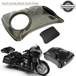 Hard Candy Black Gold Flake 8and039and039 Speaker Lids For Advanblack/harley Choptour Pak