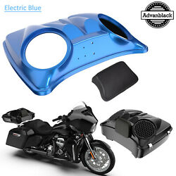 Electric Blue 8and039and039 Speaker Lids For Advanblack/harley Chopped Tour Pak Pack