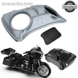 Barracuda Silver Denim 8and039and039 Speaker Lids For Advanblack/harley Chopped Tour Pack