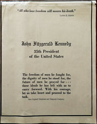 New England Telephone And Telegraph Co. John Fitzgerald Kennedy Ad 1963