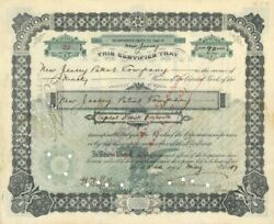 New Jersey Patent Company Signed By Thomas A. Edison - Stock Certificate