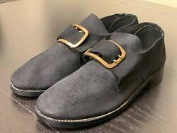 18th Century Colonial, Sz 15 - Man's Black Rough Leather Buckle Shoes Pair, New