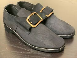 18th Century Colonial, Sz 16 - Man's Black Rough Leather Buckle Shoes Pair, New