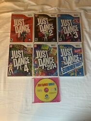 Nintendo Wii Game Lot Just Dance 1, 2, 3, 4, 2014, Summer Party, And Kids 2 Tested