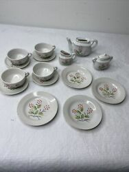 Vintage Childs White Floral Toy Tea Set Doll China Play Made In Japan Lot 15 Pcs