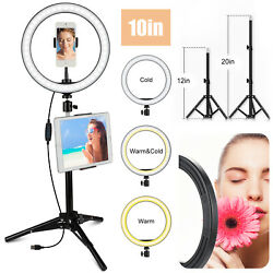 10 Selfie Led Ring Light With Tripod Phone Holder Stand For Makeup Live Stream
