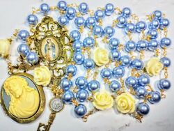 Beautiful Vatican Style Violet Czech Pearl Roses Guadeloupe Jesus Locket Rosary