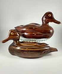 🌈 2 Hand Carved Wooden Ducks Stacked Wood Signed Decoy Sculpture Figurine Ec