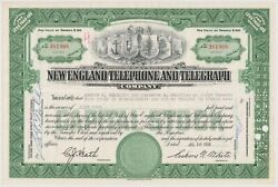 1958 New England Telephone And Telegraph Company Stock Certificate New York