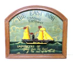 Vintage The East India Trading Company Wooden Wall Hanging Sign Hand Painted