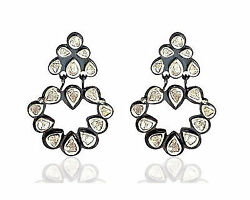 1.28ctw Polki Diamond Silver Antique Awesome Pave Vintage Style Earrings R658
