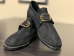18th Century Colonial, Man's Black Rough Leather Buckle Shoes Pair-size 10, New