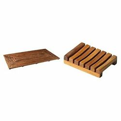 Giza Shower, Spa, Door Mat In Solid Teak Wood, 36 X 20 And Mat + Soap Dish