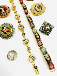 Vintage Antique Italian Italy Micro Mosaic Gilt Metal Brooch Pin Collection Lot