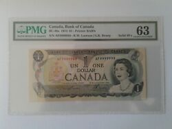 1973 Bank Of Canada 1 Bc-46a Af9999999 Solid Serial Number Pmg Choice Unc 63