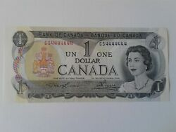 1973 Bank Of Canada 1 Bc-46a Gs4444444 Solid Serial Number Note