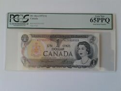 1973 Bank Of Canada 1 Bc-46a-i Acz5555555 Solid Serial Number Pcgs Gem New 65