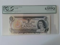 1973 Bank Of Canada 1 Bc-46a Fm3333333 Solid Serial Number Pcgs Choice New 63