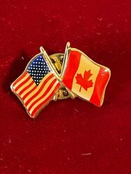 American Canadian Flag Crossed Us Usa Canada Epoxy Tie Lapel Pin Pin-back 1