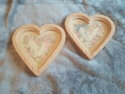 Pair Of Vintage Home Interior Heart Shaped Floral Wall Pictures Accents