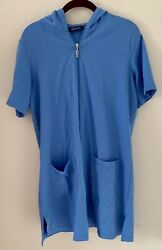 🌷 D amp; Co Beach Women's Size S Swimsuit Cover Up Blue ROBE Zip Up Tunic Hood $9.40