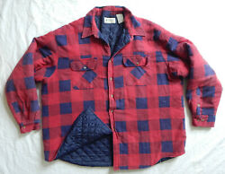 Red Blue Plaid Insulated Quilted Lined Flannel Work Shirt - 3xl Mens