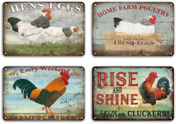 Flowerbeads Farmhouse Sign Metal Chicken Signs Funny Wall Signs