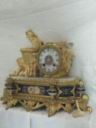 Antique 19th French Original Clock With Bronze Marble Japy Frandegraveres 30cm