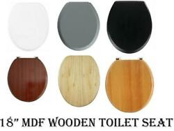 New 18 Mdf Universal Bathroom Wc Toilet Seat Easy Fit With Fittings Wooden W/c