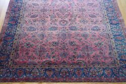 Antique 1900s Hand Knotted Kashann Rose Pink Wool Oriental Rug Cleaned 7 X 10 Ft