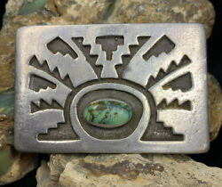 """Old Pawn, Hopi """"harry Sakyesva"""" Sterling Silver And Turquoise Belt Buckle, 60.5g"""