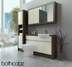 Bathroom Fitted Furniture Cream Gloss/mali Wenge 1300mm With Wall And Tall - Bathc