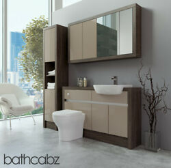 Bathroom Fitted Furniture Cappuccino Gloss/mali Wenge 1300mm With Wall And Tall -