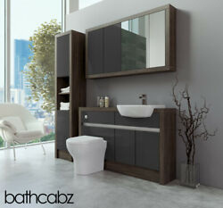 Bathroom Fitted Furniture Dark Grey Gloss/mali Wenge 1300mm With Wall And Tall - B