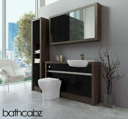 Bathroom Fitted Furniture Black Gloss/mali Wenge 1300mm With Wall And Tall - Bathc