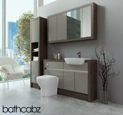 Bathroom Fitted Furniture Latte Gloss/mali Wenge 1300mm With Wall And Tall - Bathc