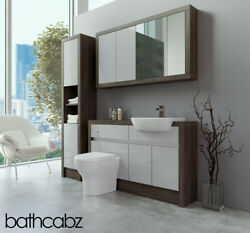 Bathroom Fitted Furniture Light Grey Gloss/mali Wenge 1300mm With Wall And Tall -