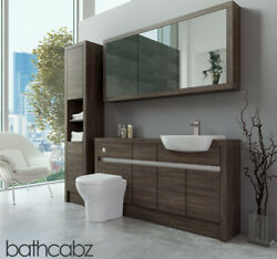 Bathroom Fitted Furniture Mali Wenge 1500mm H1 With Wall And Tall - Bathcabz