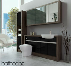 Bathroom Fitted Furniture Black Gloss/mali Wenge 1500mm H1 With Wall And Tall - Ba