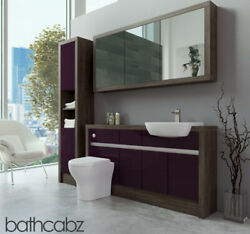 Bathroom Fitted Furniture Aubergine Gloss/mali Wenge 1500mm H1 With Wall And Tall