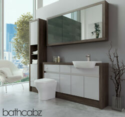 Bathroom Fitted Furniture Light Grey Gloss/mali Wenge 1500mm H1 With Wall And Tall