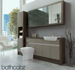 Bathroom Fitted Furniture Metallic Latte Gloss/mali Wenge 1500mm H1 With Wall And